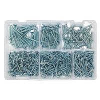 Self Tapping Screw Assortment 510pc Countersunk Pozi Zinc DIN 7982. AB062STCS